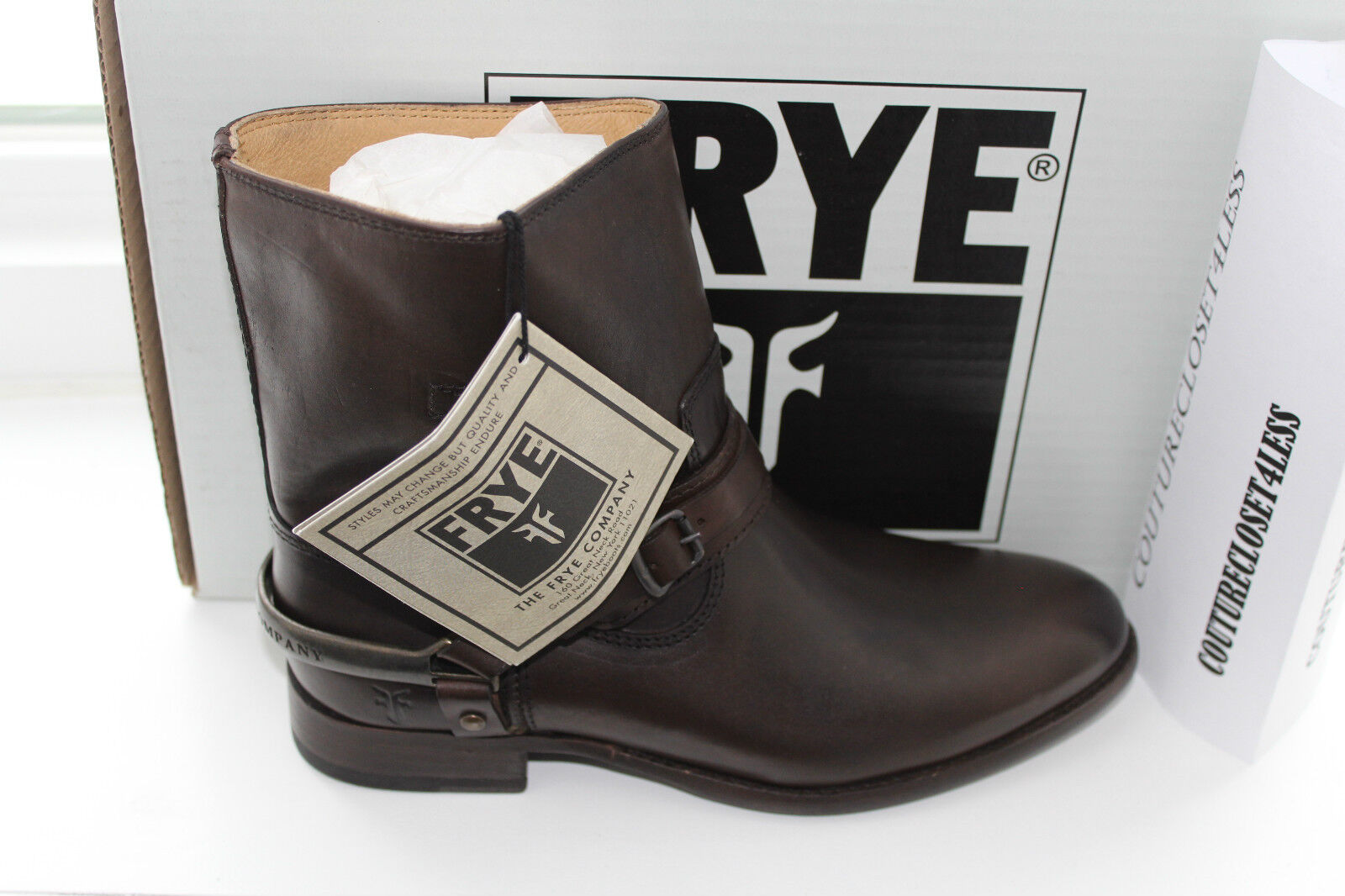 FRYE LINDSAY SPUR SHORT DARK marron SMOOTH SMOOTH SMOOTH FULL GRAIN LEATHER  8.5us  339 b2578f