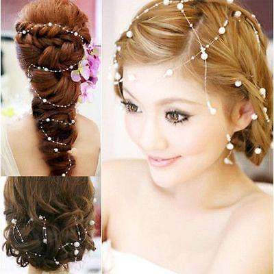 Best Aesthetic Pearl Bead Bridal Headpiece Wedding Bridal Hair Vine Tiara dress