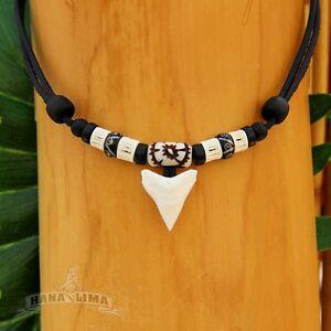 Haifischzahnkette-Haizahnkette-Surferkette-Lederkette-Herrenhalskette-Halskette