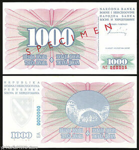 PROOF BOSNIA  1000 Dinara 1994 UNC  P46b   TRIAL PRINT ON PLAIN PAPER