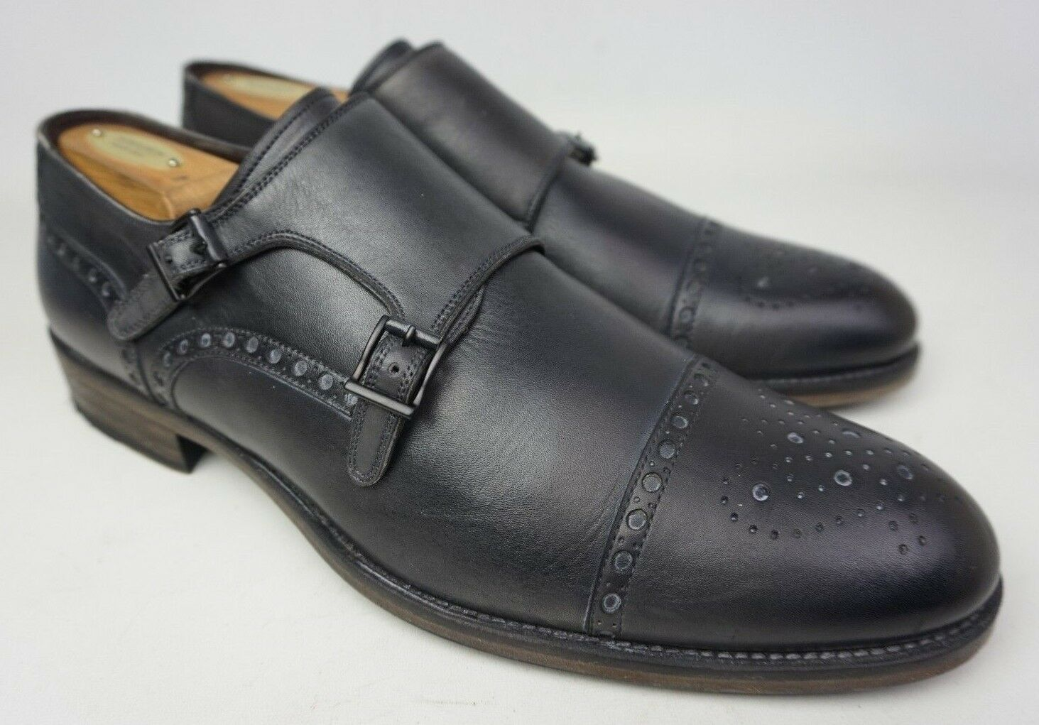 Magnanni Tauro Brogue Double Monk Strap Grey Leather Men's shoes Size 12 M