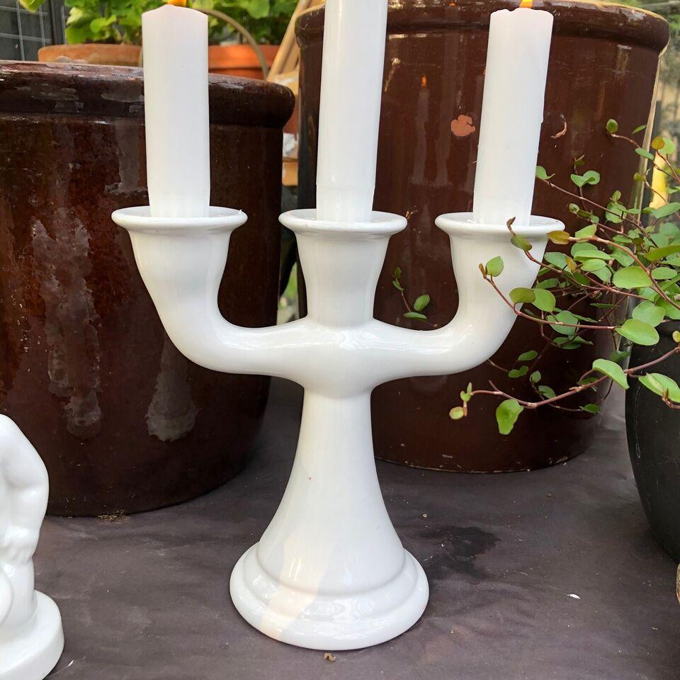 Figurer + lysestage, Hvidt porcelæn