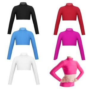 Girls-Dance-Crop-Top-Turtle-Neck-Gymnastics-Plain-Neck-Long-Sleeve-Leotard-Top