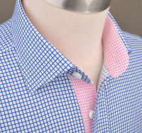 Blue Twill Plaids & Checks Formal Business Dress Shirt Pink Star Diamond Luxury