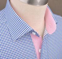 Blue Twill Plaids & Checks Formal Business Dress Shirt Pink Star Diamond Luxury