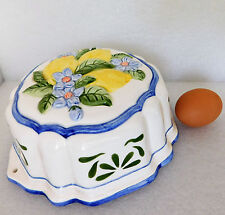 Ceramic mousse or jelly mould lemons and blue flowers design large jello mold