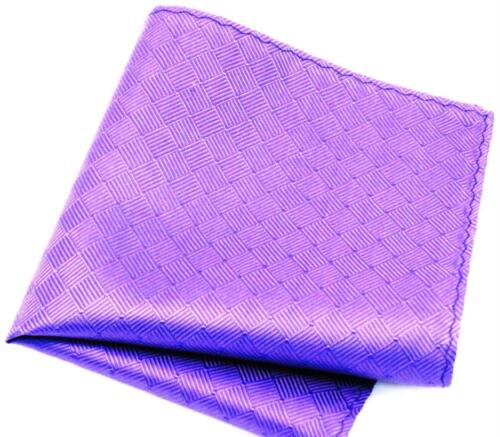 "New 10/"" 100/% Silk Pocket Square  Purple Basketweave-2 SPECIAL"