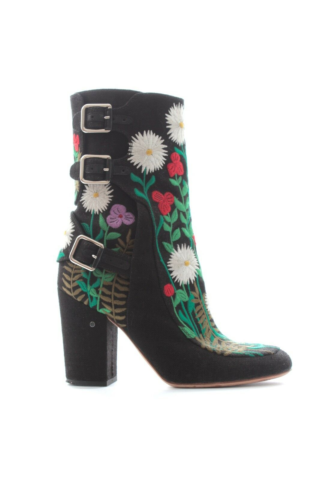 Laurence Dacade 'Merli' Floral-Embroidered Boots   Black