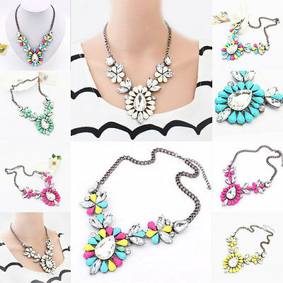Crystal Chunky Statement Bib Pendant Chain Choker Necklace Hot Fashion Jewelry
