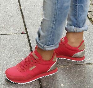 WODEN Sneaker NORA II Ribbon Rot Echtleder Textil Damen Schuhe Wechselfußbett