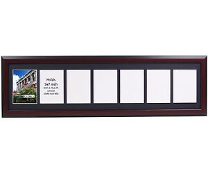 Creativepf 7 Opening Multi 5x7 Mahogany Picture Frame W 10x36 Black