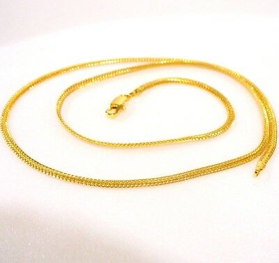 Enchapado En Oro Amarillo 24K Cadena para Mujer Pequeño Niño 50cm 19.5 Pulgadas Collar Regalo UK