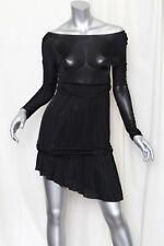 PATRIZIA PEPE Black Wide-Neck/Off Shoulder Asymmetrical-Hem Slinky Dress LBD S/M