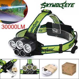 30000LM-5X-XM-L-T6-LED-Rechargeable-USB-Headlamp-Headlight-Head-Light-Torch-lot