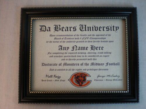BEARS~DA BEARS~CHICAGO BEARS  MAN CAVE ~ CERTIFICATE ~ DIPLOMA GREAT  FUN   GIFT
