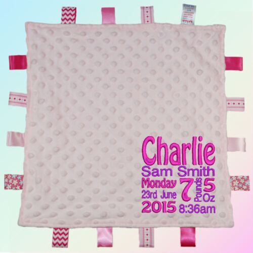 Baby Details Embroidered Baby Dimple Taggy Gift Personalised Blanket Name Weight