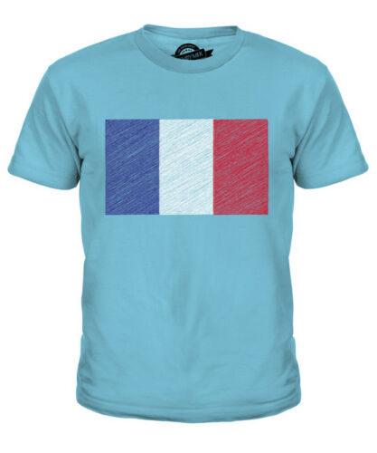FRANCE SCRIBBLE FLAG KIDS T-SHIRT TEE TOP GIFT FRENCH FOOTBALL
