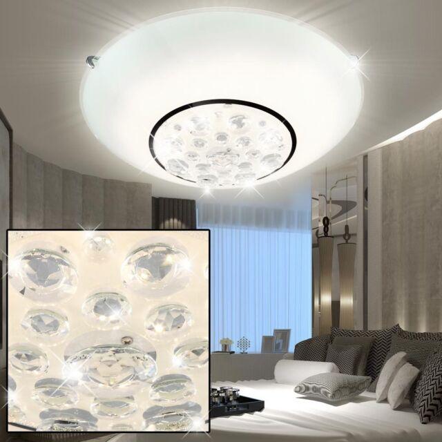 LED Decken Lampe Wohn-Ess-Zimmer Leuchte Bad Glas Kristall Lüster Flur Strahler