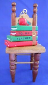 To My Teacher Christmas Around The World Ornament 54-609 Wooden Chair With Books