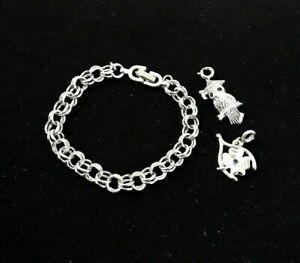 Monet-Rhinestone-Graduation-Owl-Wishbone-Silver-Tone-Charm-Bracelet