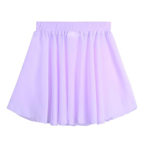 Girls Kids Ballet Leotard Basic Skating Chiffon Wrap Mini Skirt Dancewear Dress