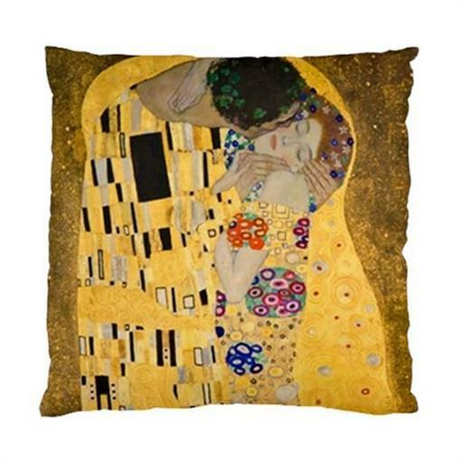 """Gustav Klimt The Kiss Painting Throw Pillow Cover Case 17"""" 2-Sided"""