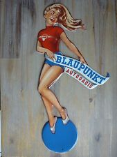 Pin-Up Cut-Out Blaupunkt Autoradio 20x43cm Shaped Frau Blech Schild Metal sign