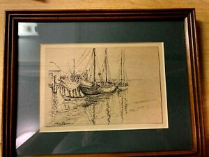 """Vintage Original Signed Pen and Ink Drawing of Fishing Boats at docking 10"""" x 8"""""""
