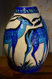 """1925 Ch. Catteau Keramis Boch Grand Vase """"daims"""" En FaÏence Fine Art DÉco Soyez Astucieux Dans Les Questions D'Argent"""