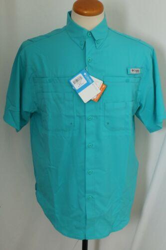 NEW Columbia PFG Tamiami Omni-Shade Teal Short Sleeve Button Down Shirt Men/'s L