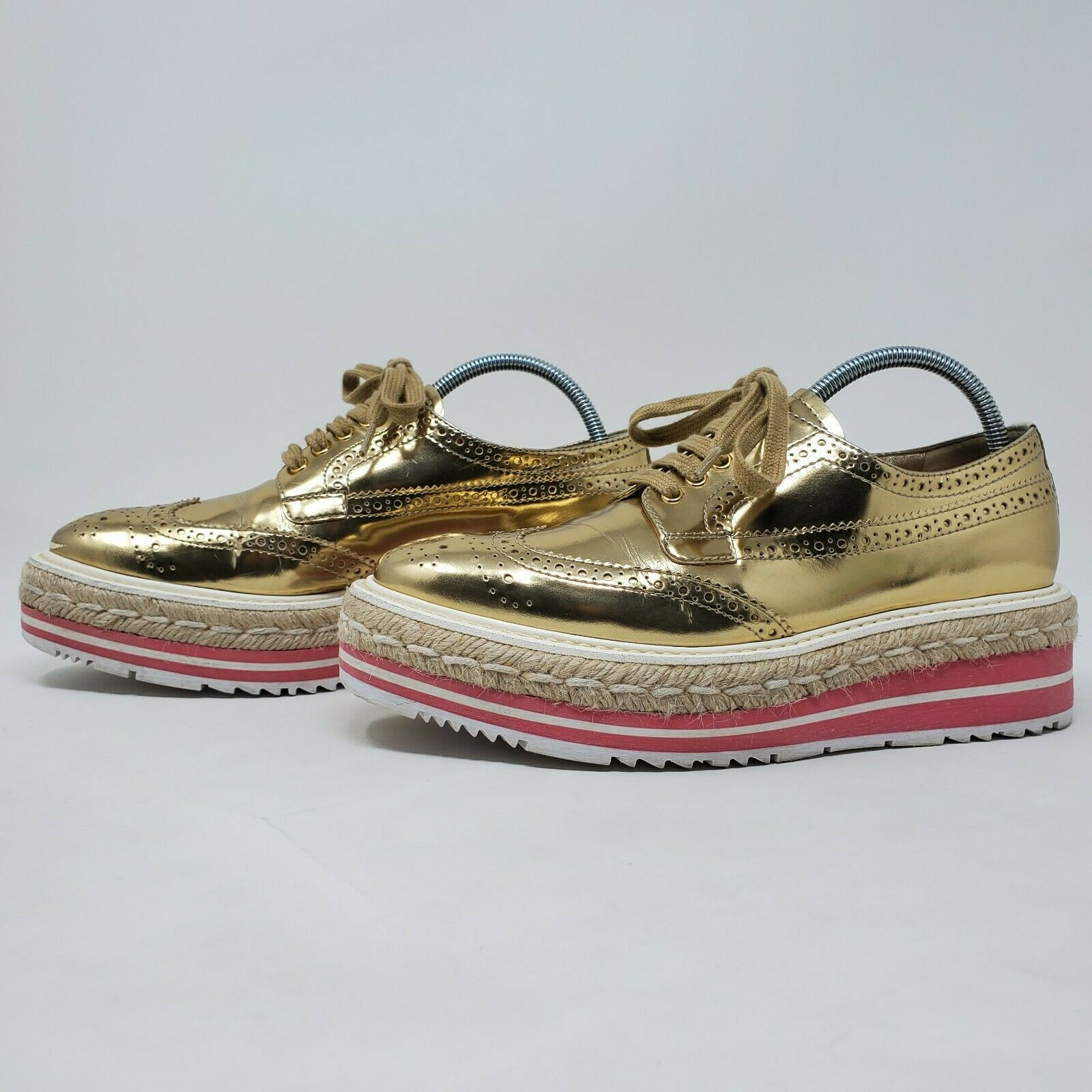 PRADA espadrille oxford shoes gold brogue pink pl… - image 2