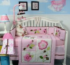 PINK CRIB BEDDING SET MY LIL LADYBUG w/FLOWERS Infant Baby Nursery 13 Pc Quilt+