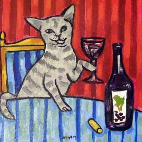 4x4  gray cat wine glass art tile coaster gift JSCHMETZ modern folk