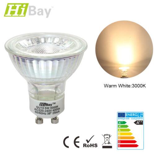 5W GU10 LED Light Bulb COB 38° Spotlight Energy Saving Lamp Replace Halogen 240V
