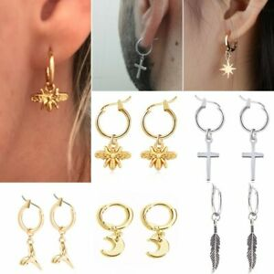 Unisex-039-s-Stainless-Steel-Bee-Cross-Moon-Dangle-Hoop-Earrings-Women-Men-Jewellery