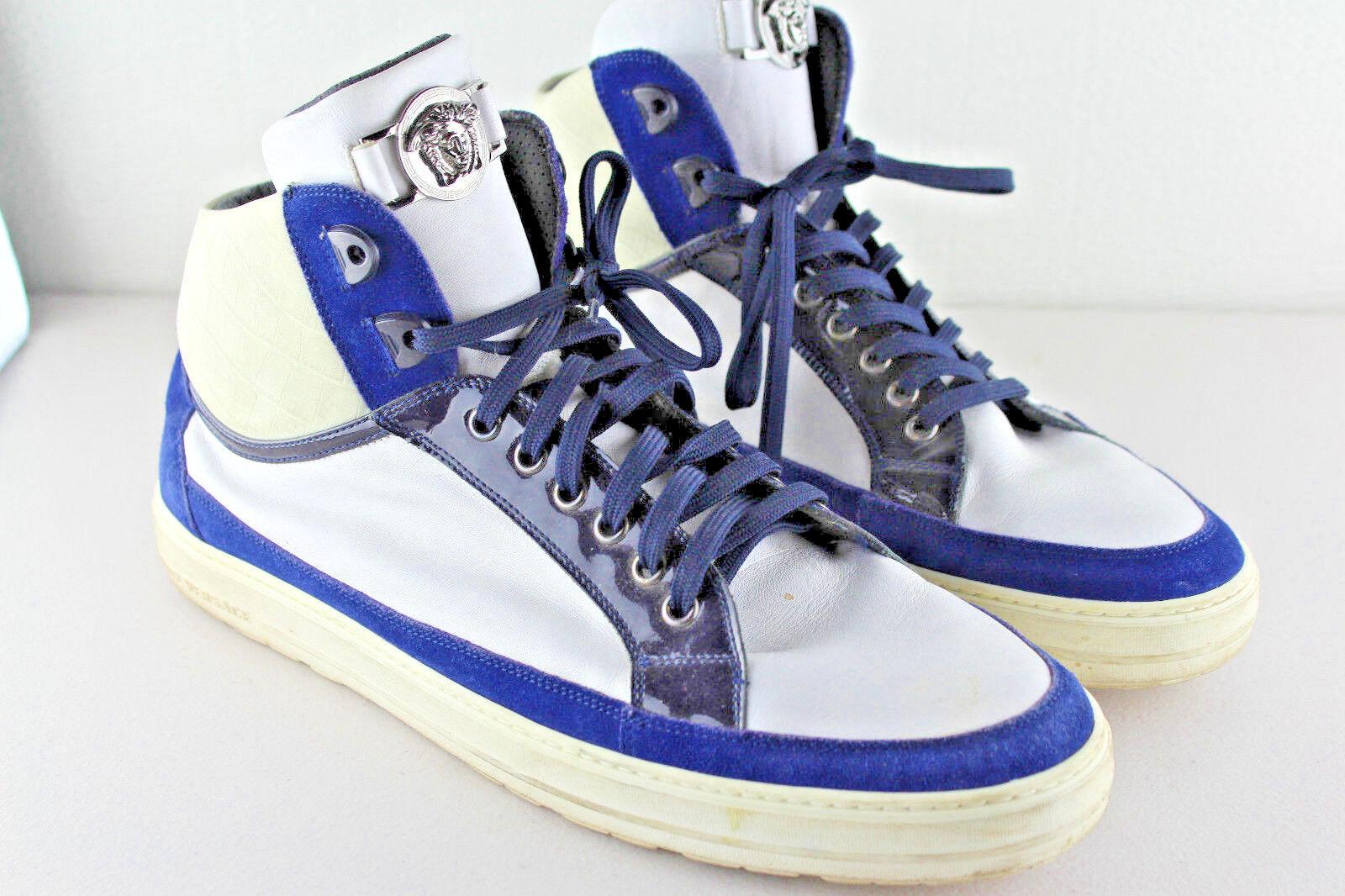 Versace piel blanca Amarillo Ante Plata Tono Medusa High Top Top High Sneaker Sz 45 US 12 d98233