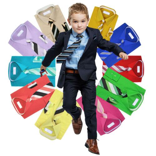 Boys Long Sleeve Dress Shirt Matching Tie /& Hanky Toddler Kids Button Up Set