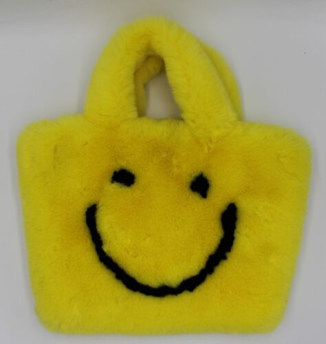 Yellow Smiley Face Fluffy Bag