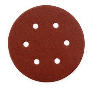 150-mm-6-HOYOS-VELCRO-RESPALDO-LIJADO-Disco-de-oxido-de-aluminio-rojo-P100-180-240-320