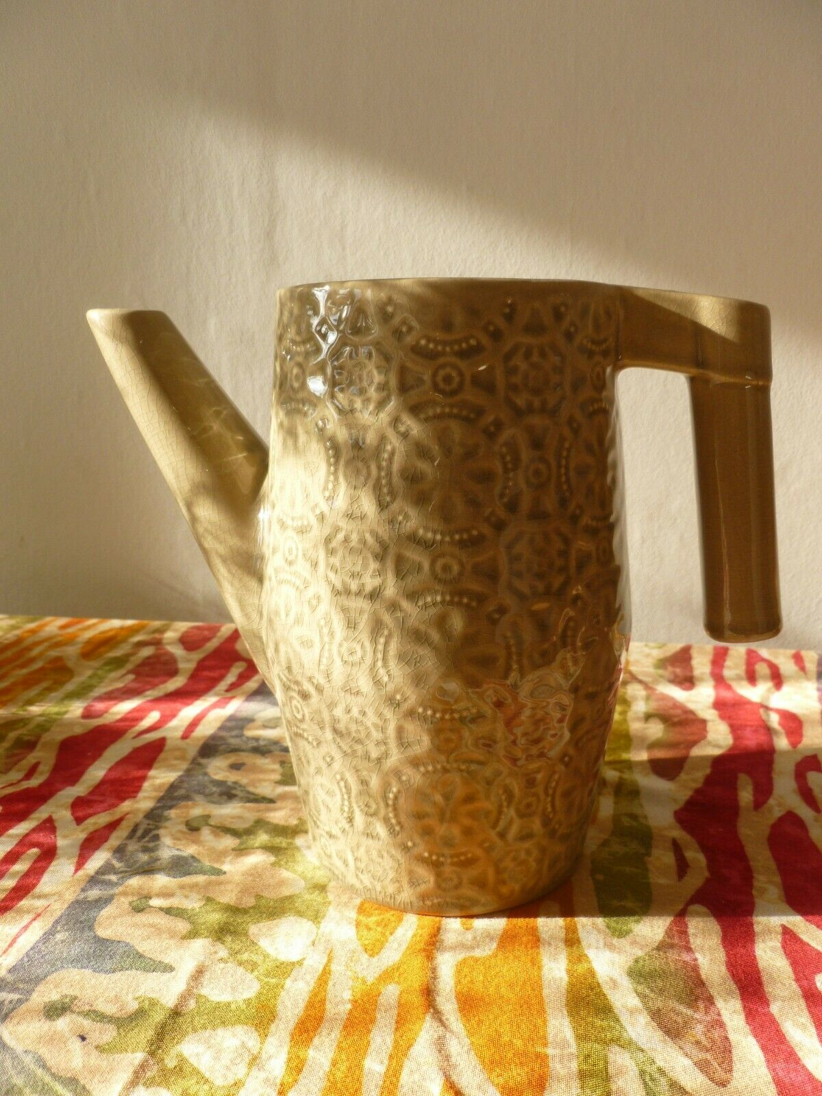 Spanish style. embossed ceramic watering jug. Olive green. Suit indoor use.