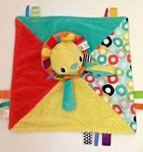 Taggies-Baby-Lovey-Patchkin-Lion-Yellow-Green-Blue-Red-Plush-Security-Blanket
