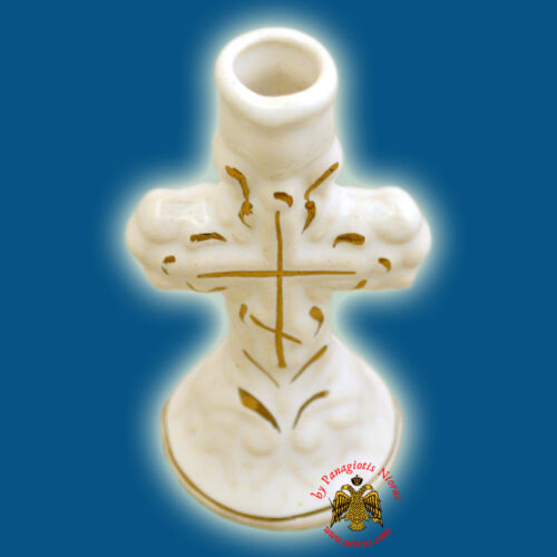 Orthodox Candle Holder Cross Colored Ceramic Different Colours Kerzenhalter