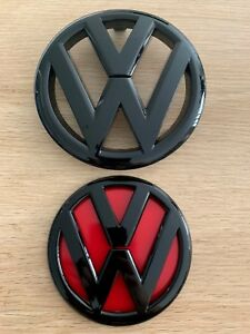 VW-GRILLE-Front-amp-Rear-Gloss-Black-Red-Badge-for-VOLKSWAGEN-GOLF-6-MK6-GTI-R-TDI