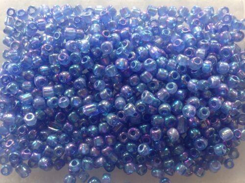 100g Azul Arco Iris Efecto Cristal Semilla Cuentas Tallas 6,8 y 11