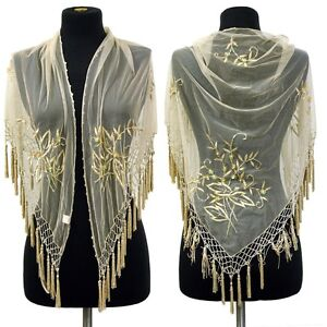 Cruise-Beaded-Leaf-Embroidery-Dancing-Wrap-Shoulder-Scarf-beaded-tassels-Beige