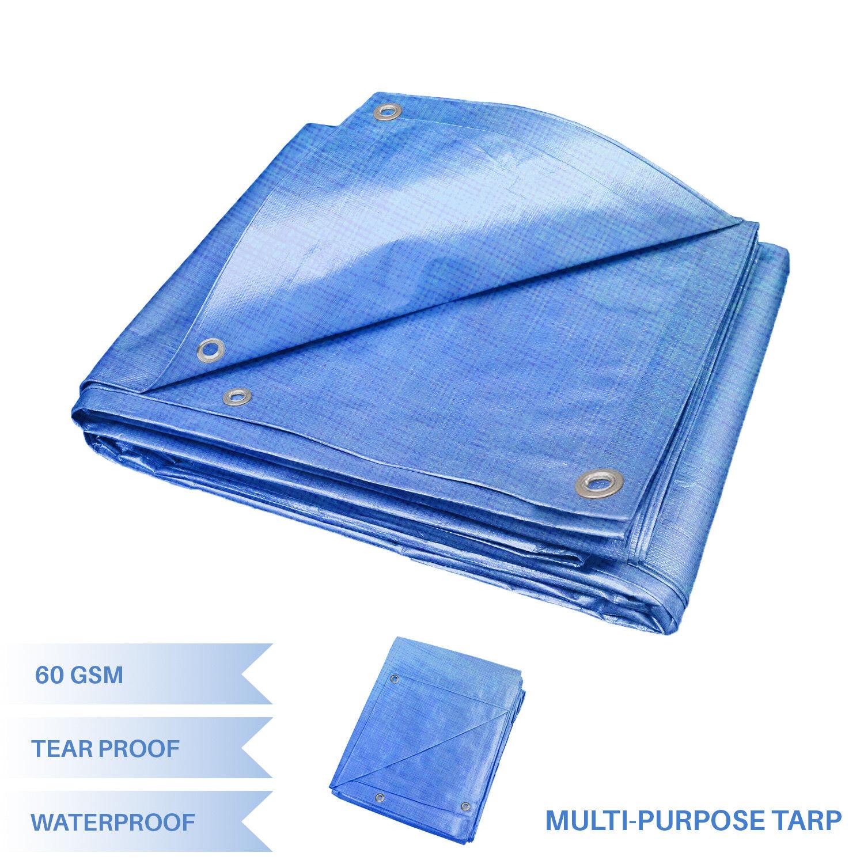 EK bluee Multi-purpose Waterproof Poly Tarp Cover Tent Shelter Camping Tarpaulin
