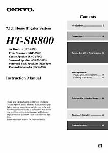 onkyo ht sr800 ht r550 home theater system receiver owners manual ebay rh ebay com onkyo user manual onkyo ht-r410 owner's manual