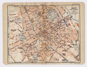 1930 ORIGINAL VINTAGE CITY MAP OF NANCY LORRAINE FRANCE eBay