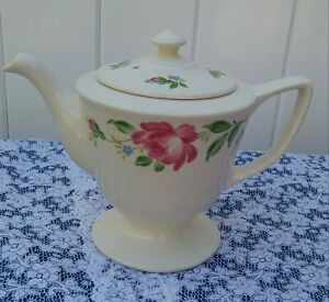 Homer-Laughlin-Vintage-Coffee-Pot-Teapot-Rose-Pattern-BEAUTIFUL-CONDITION