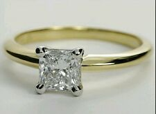 Princess Cut 1 Ct Solitaire Engagement Ring 4 Prong 14k Real Solid Yellow Gold